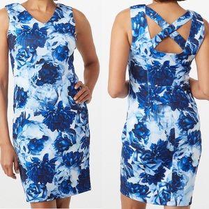 NWT Tahari Blue Floral Scuba Dress